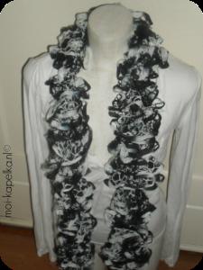 sjaal gebreide zwart-wit